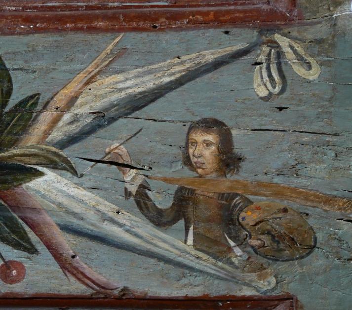 Poutre côté cheminée : Autoportrait (anonyme) de l'artiste.